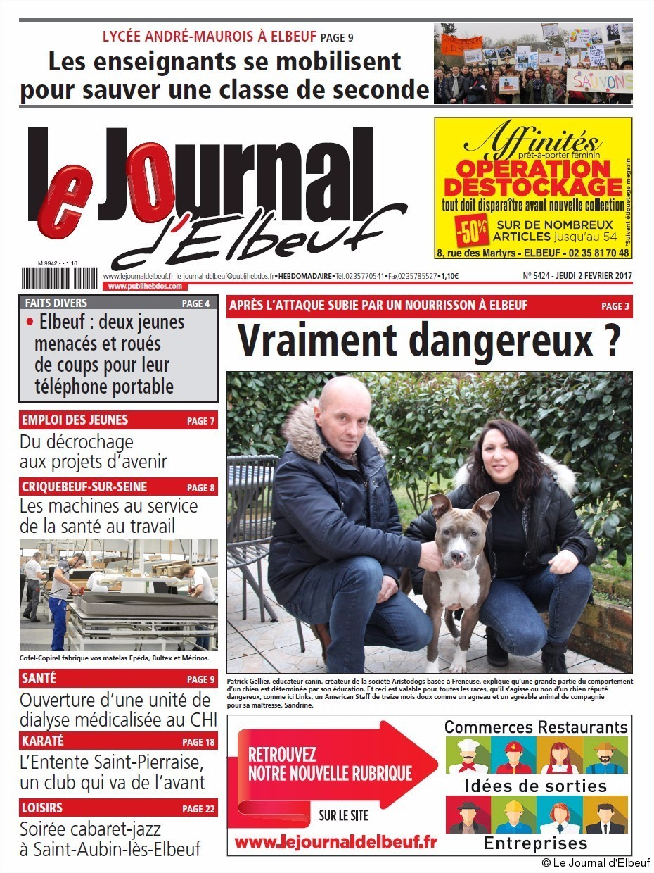 Elbeuf la une du journal d 39 elbeuf du jeudi 2 f vrier 2017 for Magazine le journal de la maison